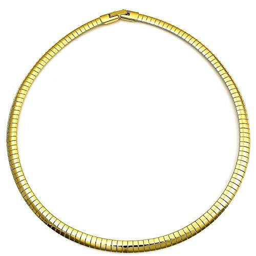 18K 22K Gold Plated Omega Chain Necklace Choker 16 Inch 4.5 mm