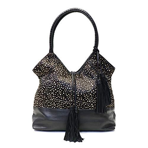 - Sharif 1827 Hair Calf Leather Whipstitch Shopper Tote Shoulder Bag (Black Dots)