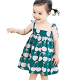 Zainafacai Baby Clothes Set, Baby Infant Girl Kids Sleeveless Printed Straps Princess Dress Clothes Green