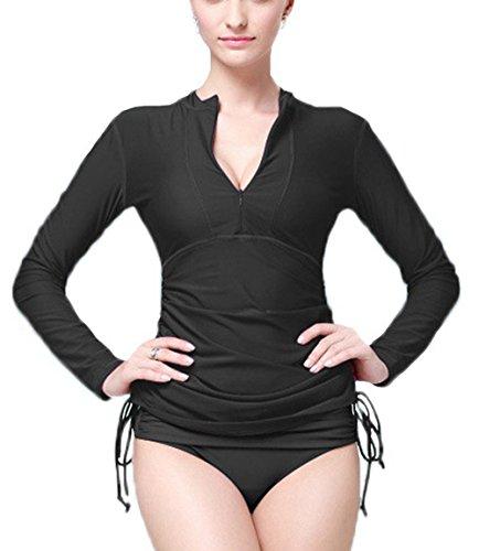 Ubestyle Women Swimming Shirt UV Sun Protection Long-Sleeve Rash Guards Beach Wear (SB901BLACKL)