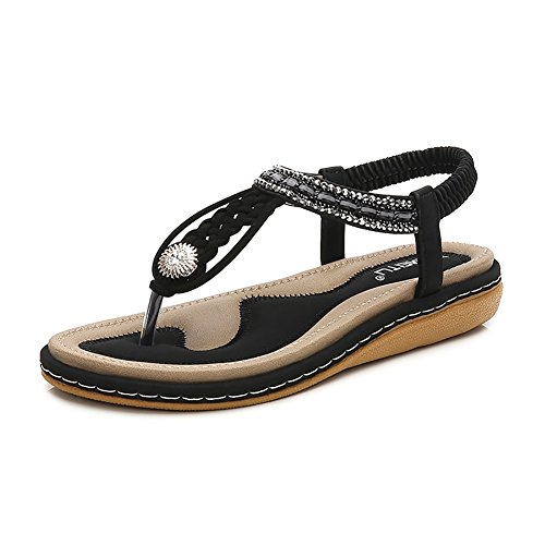 - Wollanlily Bohemia Flat Sandals Summer Style Knitting T Strap Elastic Slip On Flip-Flop Casual Shoes(8 B(M) US,Black 02)