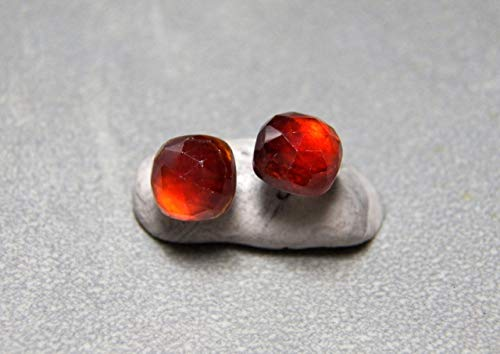 Hessonite Garnet Earrings - 8mm Rose Cut Cushion Hessonite Garnet and Sterling Silver Post Earrings