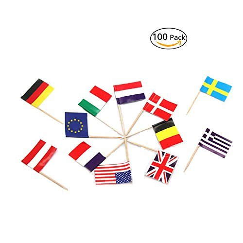 National Flag Picks Flag Toothpicks Cocktail Sticks Cupcake Toppers, Random Country, 100 - Flag German Picks