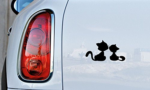 Cats Love Kiss Silhouette Car Vinyl Sticker Decal Bumper Sticker for Auto Cars Trucks Windshield Custom Walls Windows Ipad Macbook Laptop and More -