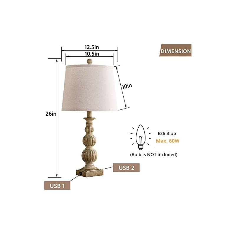 Farmhouse Table Lamp Set of 2, Tradition Bedside Lamp with 2 USB Ports, 26'' Nightstand Lamp with Beige Fabric Shade…