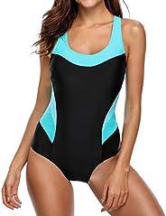 BeautyIn Women's Pro One Piece Athletic Bathing Suit Color Block Swim