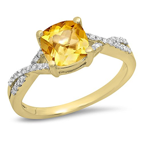 Dazzlingrock Collection 14K 7 MM Cushion Citrine & Round Diamond Ladies Swirl Engagement Ring, Yellow Gold, Size 6