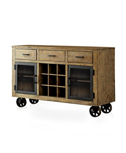 HOMES: Inside + Out IDF-3829SV Burton Industrial Style Rustic Pin, Pine