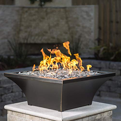 Lakeview Outdoor Designs Lavelle 18-Inch Square High-Rise Natural Gas Column Fire Bowl – Oil Rubbed Bronze