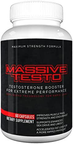 Massive Testo - Extreme Testosterone boost for huge muscles, decreased body fat, faster recovery times, better athletic performance, improved focus and concentration