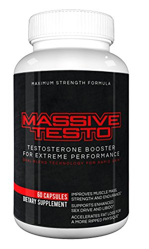 Massive Testo – Maximum Strength Testosterone Boost for huge muscles, decreased body fat, faster recovery times, better athletic performance, improved focus and concentration