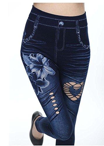Femmes Leggings Pantalons imprim Huateng 2 Imitation Skinny Jeggings Extensible lastique Denim Pantalon RxW1dqfw