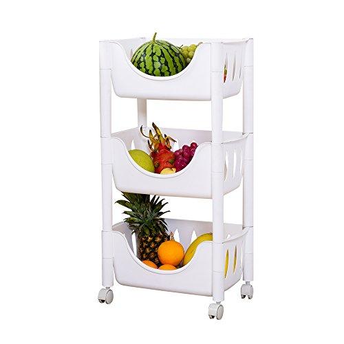 IMPR3 TREE Multi function Adjustable Cart Fruit Bread Basket Shelf Kitchen Storage Shelving Unit Rack (White, 3-Tier) by IMPR3 TREE