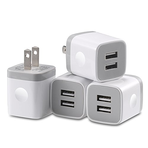 Wall Charger, LOOGGO 4-Pack 2.1A/5V Dual Port USB Cube Wall Charger Plug Power Adapter Charging Block Compatible with iPhone XR Xs Xs Max X 8 7 6 Plus 5S, iPad, Samsung, LG, Android Cell Phone (White) For Sale