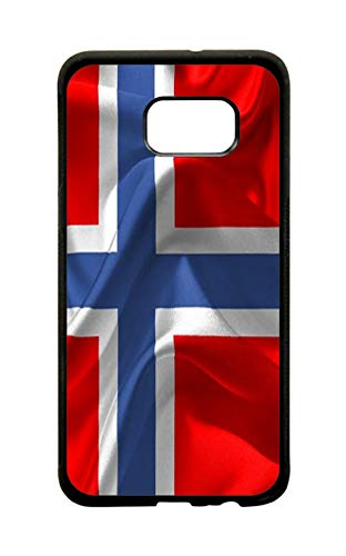 - Norway Waving Flag Print Design Black Rubber Phone Case Cover That is Compatible with The Samsung Galaxy s7 Edge