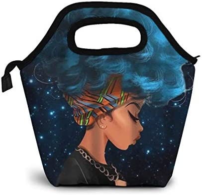 Reusable Lunch Bag Galaxy Sea Blue Hair African Women Insulated Neoprene Tote Bag Organizer Lunch Holder Container for Women Men and Kids Soft Lunch Tote for Work School and Travel Picnic
