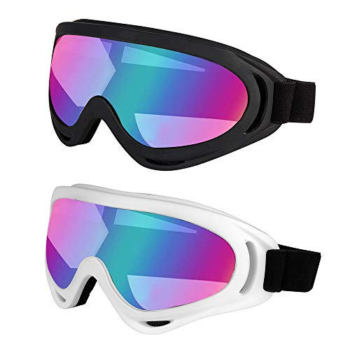 LJDJ Ski Goggles, Pack of 2 - Snowboard Adjustable UV 400 Protective Motorcycle Goggles Outdoor Sports Tactical Glasses Dust-Proof Combat Military Sunglasses for Kids, Boys & Girls, Youth, Men Women... ()