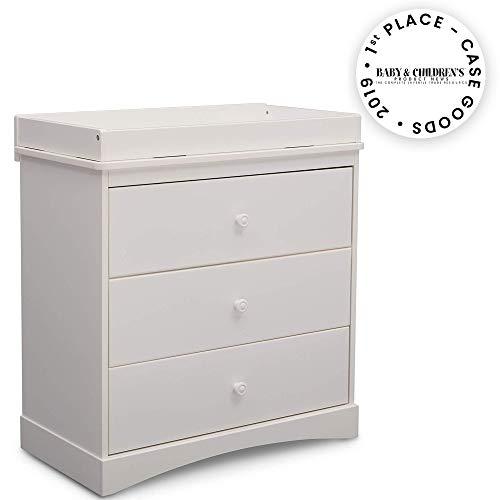 Delta Children Sutton 3 Drawer Dresser with Changing Top, White