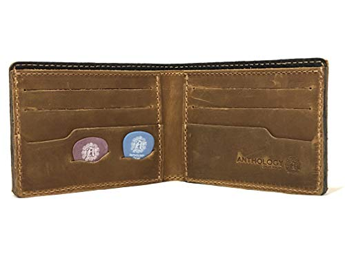 Minimalist Bi-fold Leather Wallet - with Guitar Pick Holder Full Grain Leather by Anthology Gear (Tobacco)