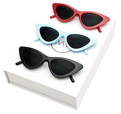 Fashion Vintage Retro (WearMe Pro - Retro Vintage Tinted Lens Cat Eye Sunglasses (Box: Black Frame/Black Lens | Red Frame/Black Lens | Blue Frame/Black Lens, 51))