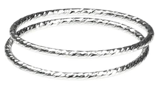2 Sterling Silver Sparkle Stacking Rings Size 6