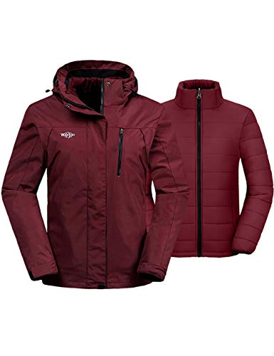 Wantdo Women's 3 in 1 Waterproof Ski Jacket Windproof Winter Snow Coat Snowboarding Jackets Warm Raincoat