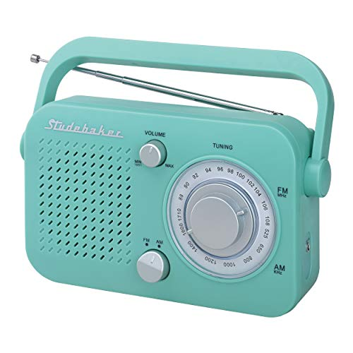 - Studebaker SB2001 Retro Portable AM/FM, Small Personal Transistor Radio (Teal)