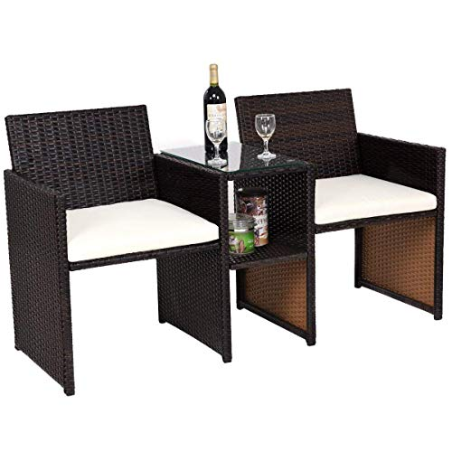Tangkula Outdoor Furniture Set Paito Conversation Set with Remoable Cushions & Table Wicker Modern Sofas for Garden Lawn Backyard Outdoor Chat Set (Sofa Style) ()