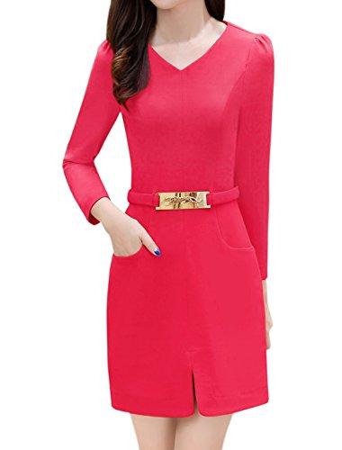 sourcingmap Mujer Metálico Leopardo Deco Split Front Vestido Recto Rosa