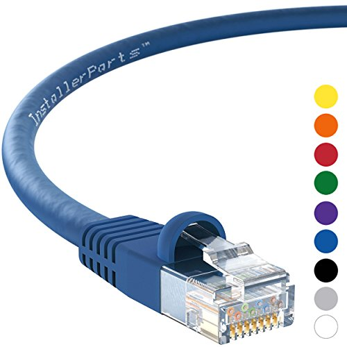 InstallerParts Ethernet Cable CAT6 Cable UTP Booted 15 FT - Blue - Professional Series - 10Gigabit/Sec Network/High Speed Internet Cable, 550MHZ
