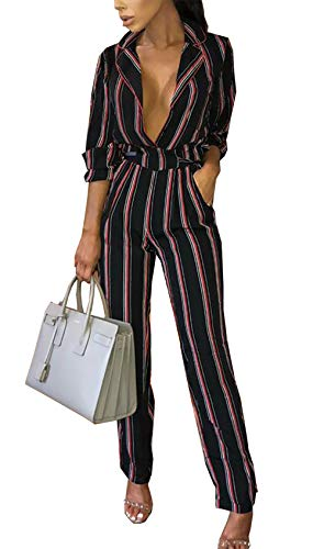 PRETTYGARDEN Women's Sexy V Neck Striped Long Sleeve Wide Leg Jumpsuit Romper with Pockets and Belt (Black, Medium) (Belt Belted Lace)