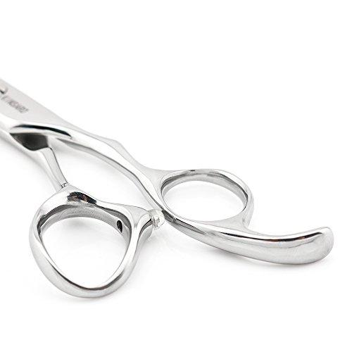 6'' Professional Hair Cutting Shears Convex Edge Japan 440C Silvery Barber Hair Scissors Kinsaro by KINSARO (Image #5)