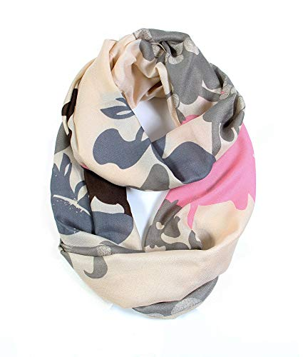 - Scarfand Vibrant Painting Artistic Print Infinity Scarf (Floral Beige)