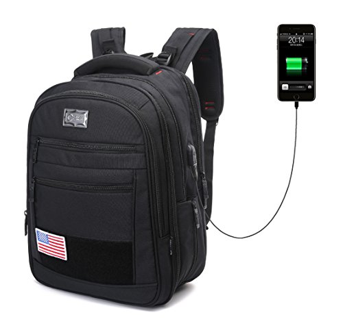 "CrossLandy Extra Large Computer Backpack for 15.6"" Laptop Notebook Business Luggage Backpacks College School Daypack for Women & Men with USB Charging Port Earphone Hole Water Resistant Black"