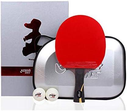 Kalmar 卓球ラケット、王Liqinギフト箱入り卓球ラケット、両面粘着防止レザー横型ショット/ロングハンドル Professional Training/Recreational Racquet Kit