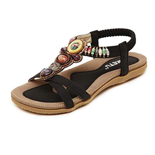 Sandalias del verano de las mujeres, Internet La manera dulce con cuentas de pisos clip del dedo del pie sandalias Bohemia espina de pescado Negro