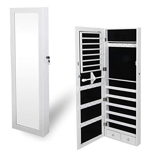 ZENSTYLE Jewelry Armoire Lockable Wall/Door Mounted Jewelry Organizer with Mirror and Drawers Jewelry Cabinet for Bracelet Ring Necklace Earring Watch Makeup Sunglasses