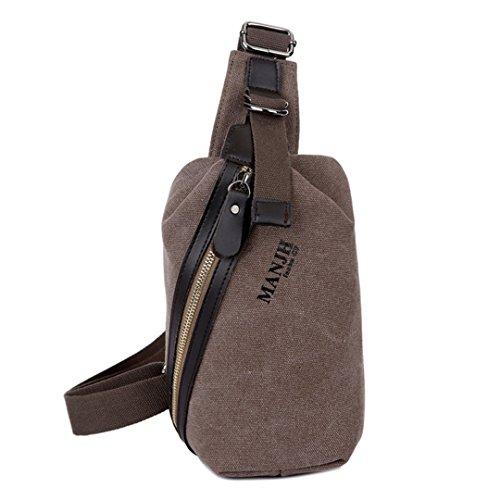 Vintage Leisure Single Shoulder Bag Mini Backpack Messenger Chest Bag for Men (Brown) - 1