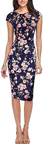 EFOFEI Womens Cap Sleeve Bodycon Ruched Sheath Formal Pencil Knee Length Dress
