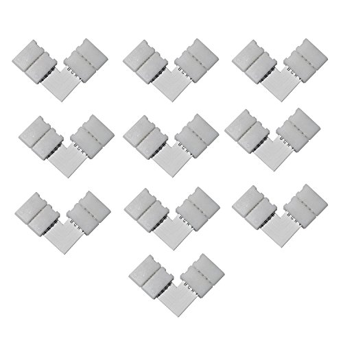 SINNRY 10pcs L-shape 4 Pin 10MM Strip to Strip Connector 4 Conductor Right Angle Corner Quick Splitter For (Led Quick Connector 4 Pin)