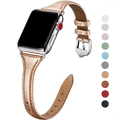 WFEAGL Leather Bands Compatible with Apple Watch 38mm 40mm 42mm 44mm, Top Grain Leather Band Slim & Thin Replacement Wristband for iWatch Series 4/3/2/1(Rose Gold Band+Silver Adapter, 38mm 40mm) ()