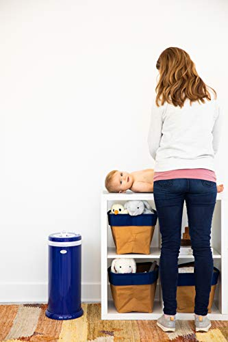 Ubbi Steel Odor Locking, No Special Bag Required Money Saving, Awards-Winning, Modern Design Registry Must-Have Diaper Pail, Navy