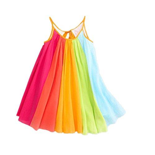 Sumen Baby Girls Summer Sleeveless Chiffon Tutu Rainbow Dresses for Little Princess 12M~9T
