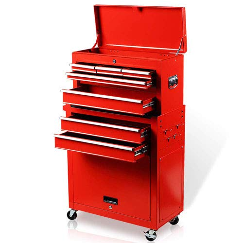 INVIE Rolling Tool Chest 8-Drawer Storage Cabinet with Wheels and Drawers Keyed Locking System Tool Box Organizer with Liner Handle Hook (Red)