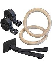 ALPIDEX houten turnringen gymnastiekringen inclusief deuranker en bevestigingsriemen met lengtemarkering