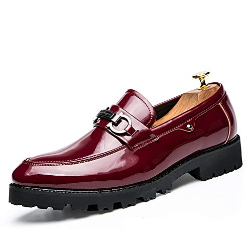 Color in uomo Oxford Scarpe confortevole da Business pelle Blu e shoes Uomo in 42 bottoni casual con formali EU pelle Scarpe Dimensione Pelle morbida verniciata Rosso Xiaojuan Slip IBAzq
