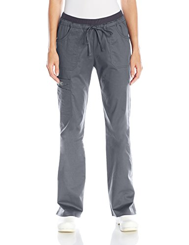 Cherokee Women's Ww Core Stretch Jr. Fit Low-Rise Drawstring Cargo Pant, Pewter, Small Arge/Tall