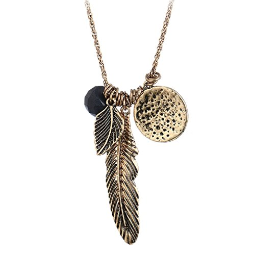 - HONGYE Ancient Gold and Silver Feather Leaf Bead More Pendant Necklace