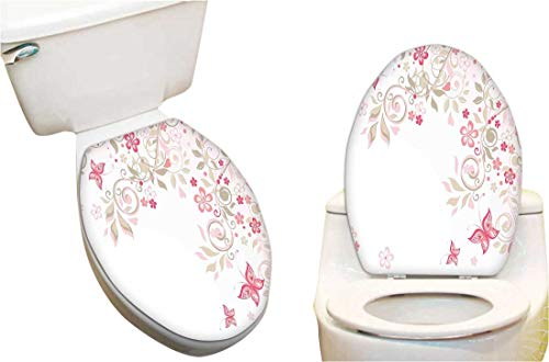 Toilet seat Sticker Branches Wildflowers Butterflies Dots Romantic Bridal Wedding Theme Pink Cocoa Light Pink Toilet Seat Sticker Vinyl Toilet Lid Decal Decor 14
