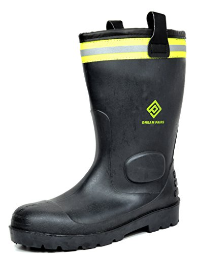 DREAM PAIRS Men's 0615W Water Proof Fur Interior Black Rubber Winter Snow Rain Boots 9 M US (Rain Snow Winter Boots)